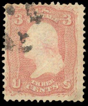 US Stamps Price Scott Catalog #83 - 1867 3c Washington Grill. Daniel Kelleher Auctions, Aug 2015, Sale 672, Lot 2273