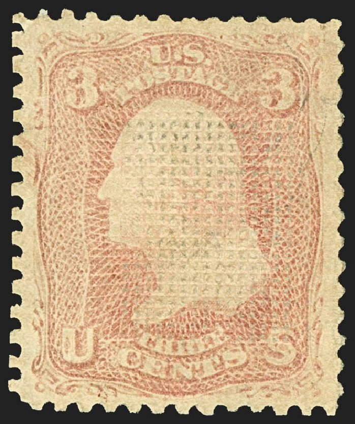 US Stamps Prices Scott Catalogue #83: 1867 3c Washington Grill. Robert Siegel Auction Galleries, Jul 2015, Sale 1107, Lot 186