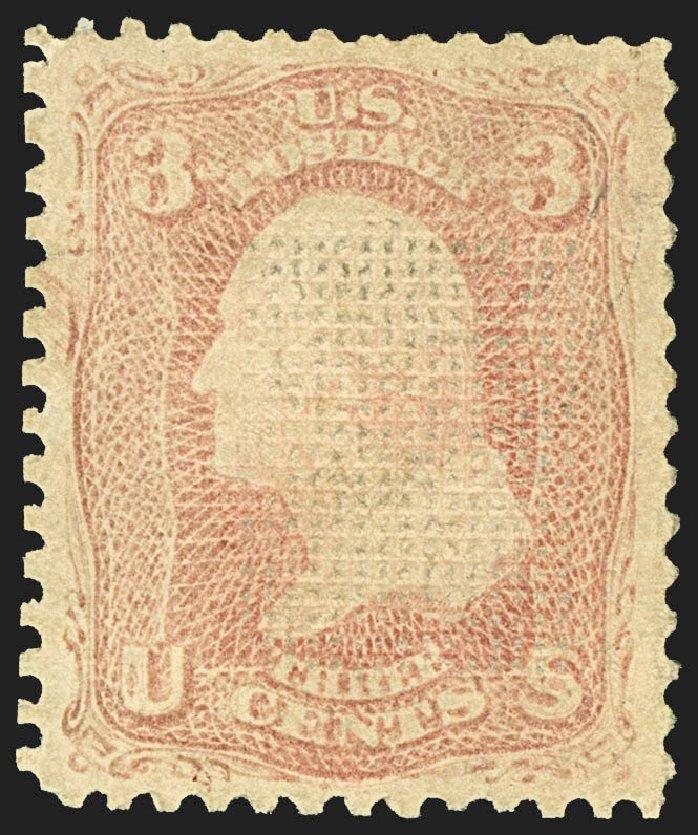 US Stamps Prices Scott Catalogue #83: 1867 3c Washington Grill. Robert Siegel Auction Galleries, Jul 2015, Sale 1107, Lot 186