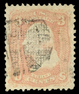 Cost of US Stamps Scott #85 - 3c 1868 Washington Grill. Daniel Kelleher Auctions, Aug 2015, Sale 672, Lot 2277