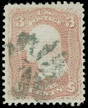 Cost of US Stamps Scott 85 - 1868 3c Washington Grill. H.R. Harmer, Jun 2015, Sale 3007, Lot 3160