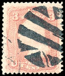 Costs of US Stamps Scott Catalog 85: 1868 3c Washington Grill. Schuyler J. Rumsey Philatelic Auctions, Apr 2015, Sale 60, Lot 2054