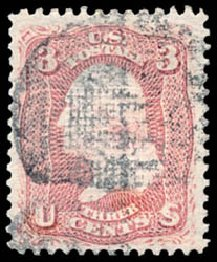 Values of US Stamps Scott 85 - 3c 1868 Washington Grill. Schuyler J. Rumsey Philatelic Auctions, Apr 2015, Sale 60, Lot 2055