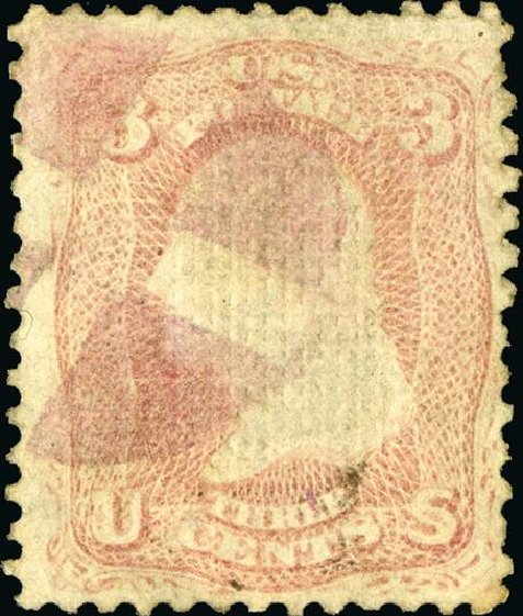 Value of US Stamps Scott Catalogue # 85: 1868 3c Washington Grill. Spink Shreves Galleries, Jan 2015, Sale 150, Lot 85