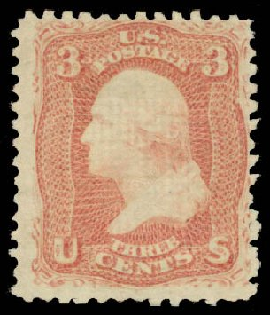 US Stamp Values Scott Catalog # 85: 3c 1868 Washington Grill. Daniel Kelleher Auctions, Aug 2015, Sale 672, Lot 2276