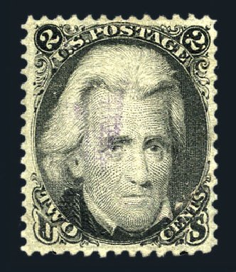 US Stamp Value Scott Cat. 85B: 1868 2c Jackson Grill. Harmer-Schau Auction Galleries, Aug 2015, Sale 106, Lot 1429
