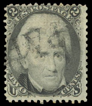 US Stamps Values Scott Catalog #85B - 1868 2c Jackson Grill. Daniel Kelleher Auctions, Aug 2015, Sale 672, Lot 2285