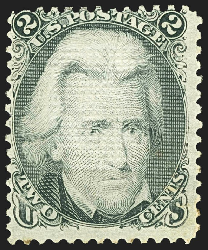 US Stamp Values Scott Catalog # 85B - 1868 2c Jackson Grill. Robert Siegel Auction Galleries, Jul 2015, Sale 1107, Lot 192