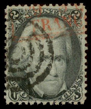Value of US Stamps Scott Catalogue 85B - 1868 2c Jackson Grill. Daniel Kelleher Auctions, Aug 2015, Sale 672, Lot 2283