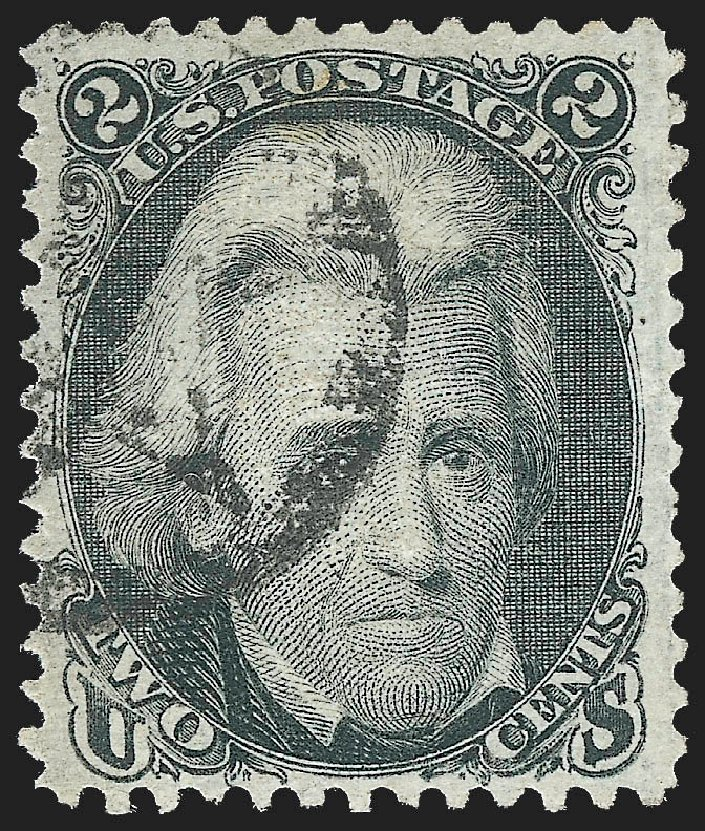 Values of US Stamp Scott Catalog # 85B: 1868 2c Jackson Grill. Robert Siegel Auction Galleries, Jul 2015, Sale 1107, Lot 193