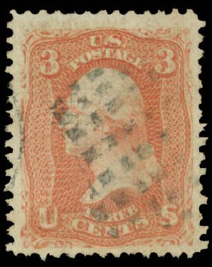 US Stamps Values Scott Catalog 85C: 3c 1868 Washington Grill. Daniel Kelleher Auctions, Aug 2015, Sale 672, Lot 2287
