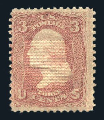 Value of US Stamp Scott # 85C - 3c 1868 Washington Grill. Harmer-Schau Auction Galleries, Aug 2015, Sale 106, Lot 1430