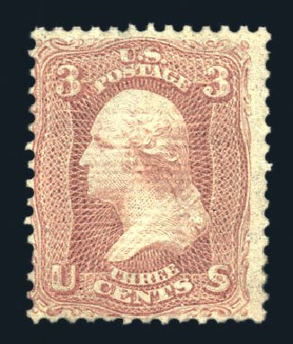 US Stamp Values Scott Catalogue #85C: 1868 3c Washington Grill. Harmer-Schau Auction Galleries, Aug 2015, Sale 106, Lot 1431