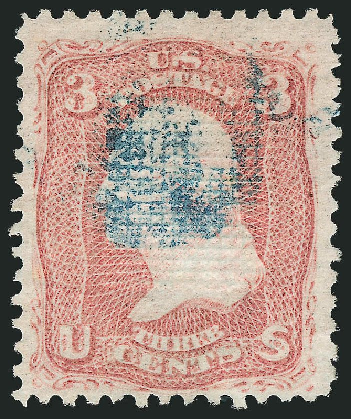 Costs of US Stamps Scott #85C - 1868 3c Washington Grill. Robert Siegel Auction Galleries, Nov 2014, Sale 1084, Lot 3251