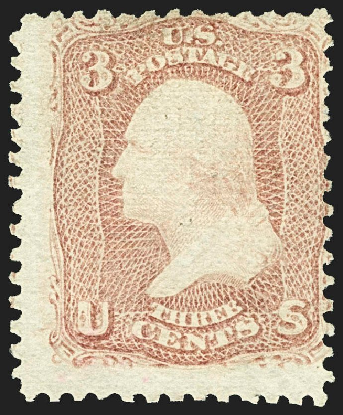 US Stamps Value Scott Catalog # 85C: 1868 3c Washington Grill. Robert Siegel Auction Galleries, Jul 2015, Sale 1107, Lot 195