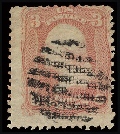 Prices of US Stamp Scott Catalogue 85C - 1868 3c Washington Grill. Cherrystone Auctions, Jul 2015, Sale 201507, Lot 42