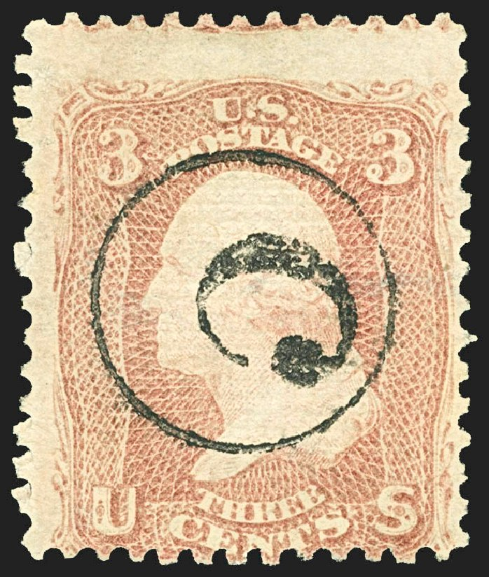 US Stamps Value Scott Cat. #85C: 3c 1868 Washington Grill. Robert Siegel Auction Galleries, Jul 2015, Sale 1107, Lot 196