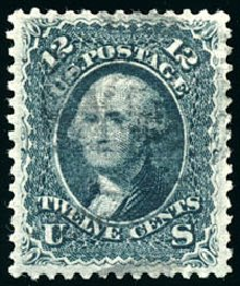 Costs of US Stamp Scott Cat. # 85E: 1868 12c Washington Grill. Schuyler J. Rumsey Philatelic Auctions, Apr 2015, Sale 60, Lot 2058