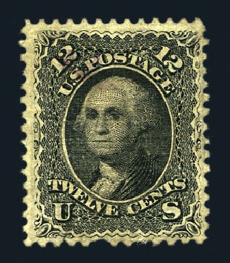 US Stamps Values Scott Catalog 85E: 12c 1868 Washington Grill. Harmer-Schau Auction Galleries, Aug 2015, Sale 106, Lot 1433