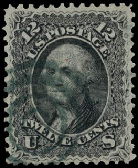 US Stamp Values Scott Catalog # 85E - 12c 1868 Washington Grill. Daniel Kelleher Auctions, May 2015, Sale 669, Lot 2536