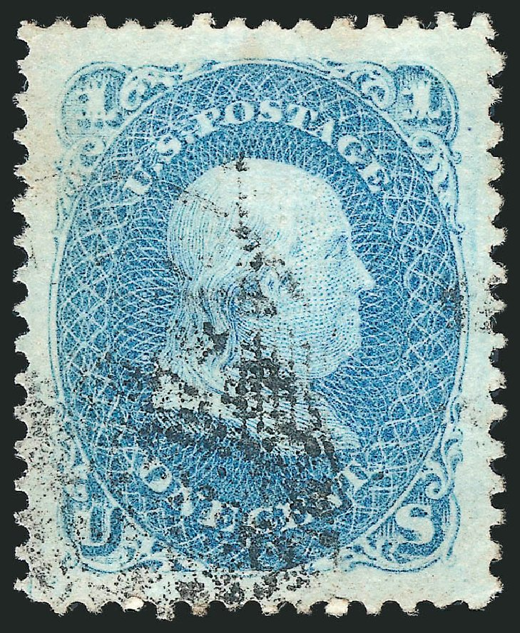 US Stamp Prices Scott Cat. 86: 1867 1c Franklin Grill. Robert Siegel Auction Galleries, Nov 2014, Sale 1084, Lot 3257