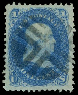 US Stamps Value Scott Catalog 86: 1867 1c Franklin Grill. Daniel Kelleher Auctions, Dec 2014, Sale 661, Lot 98