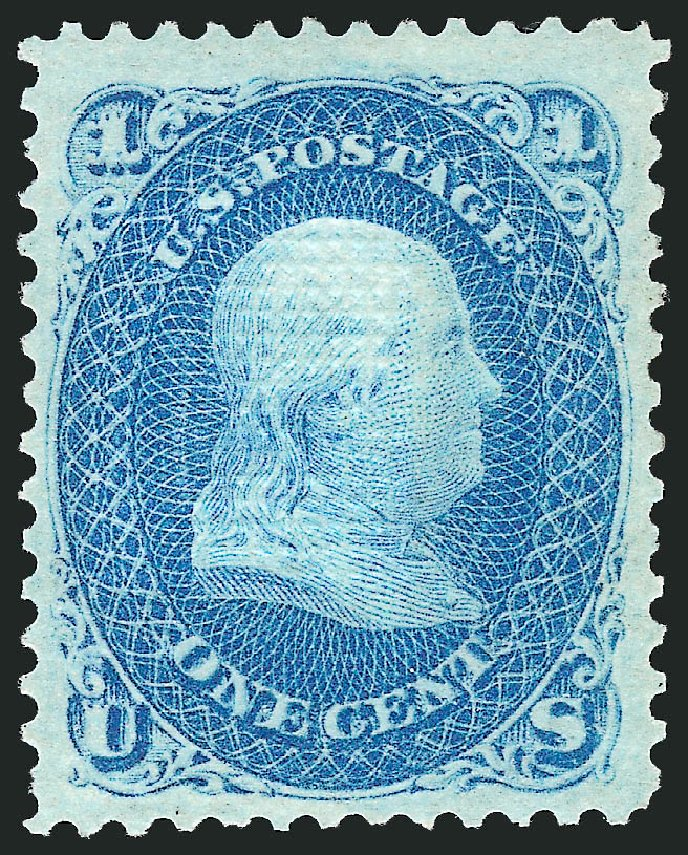 US Stamps Prices Scott Cat. # 86: 1867 1c Franklin Grill. Robert Siegel Auction Galleries, Apr 2015, Sale 1096, Lot 168