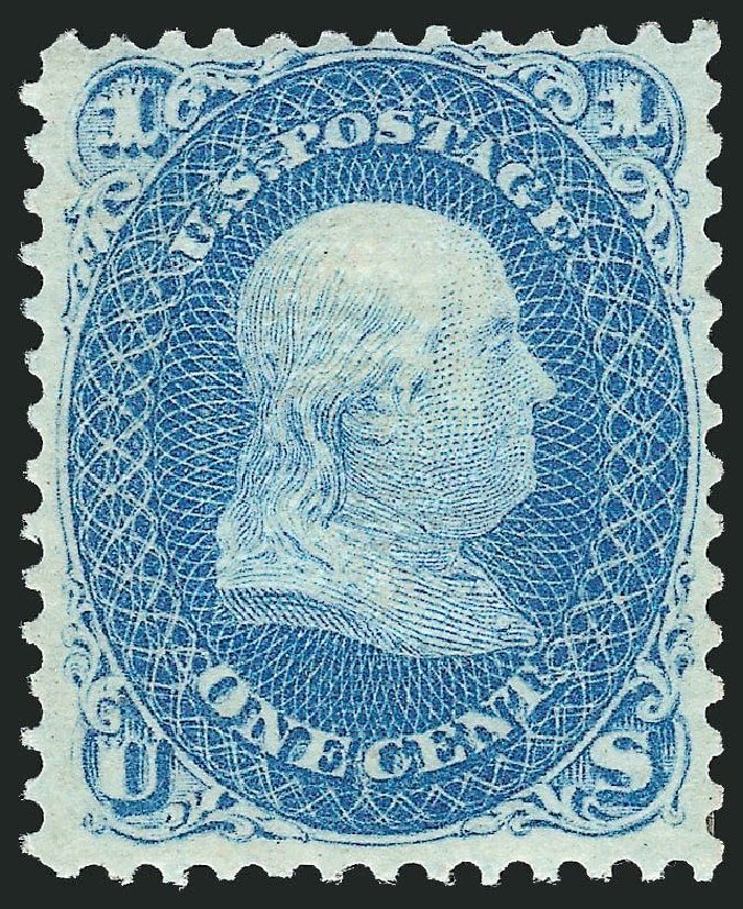 US Stamp Values Scott Catalog # 86 - 1867 1c Franklin Grill. Robert Siegel Auction Galleries, Dec 2014, Sale 1090, Lot 1219
