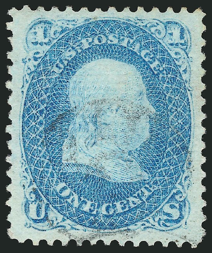 US Stamps Values Scott Cat. # 86: 1c 1867 Franklin Grill. Robert Siegel Auction Galleries, Apr 2015, Sale 1096, Lot 169