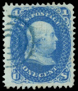 Prices of US Stamp Scott # 86: 1867 1c Franklin Grill. Daniel Kelleher Auctions, Aug 2015, Sale 672, Lot 2290