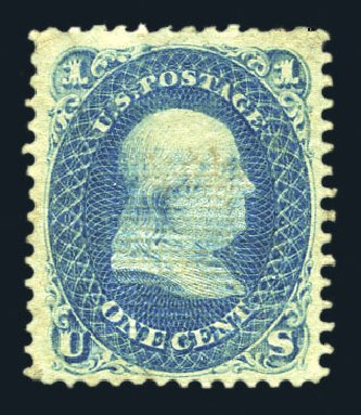 Costs of US Stamps Scott Catalog # 86: 1867 1c Franklin Grill. Harmer-Schau Auction Galleries, Aug 2015, Sale 106, Lot 1434