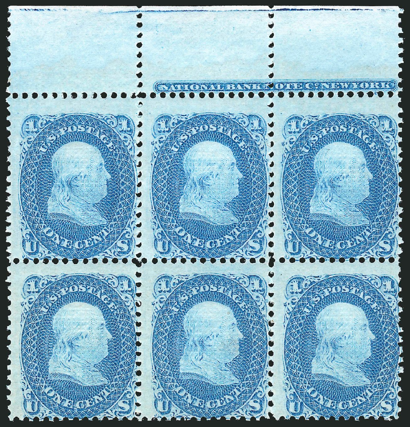 Value of US Stamp Scott Catalog 86 - 1867 1c Franklin Grill. Robert Siegel Auction Galleries, Nov 2014, Sale 1084, Lot 3255