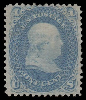 Costs of US Stamp Scott 86: 1867 1c Franklin Grill. Daniel Kelleher Auctions, Jan 2015, Sale 663, Lot 1312