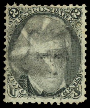 Value of US Stamp Scott Catalog # 87: 1868 2c Jackson Grill. Daniel Kelleher Auctions, Aug 2015, Sale 672, Lot 2292