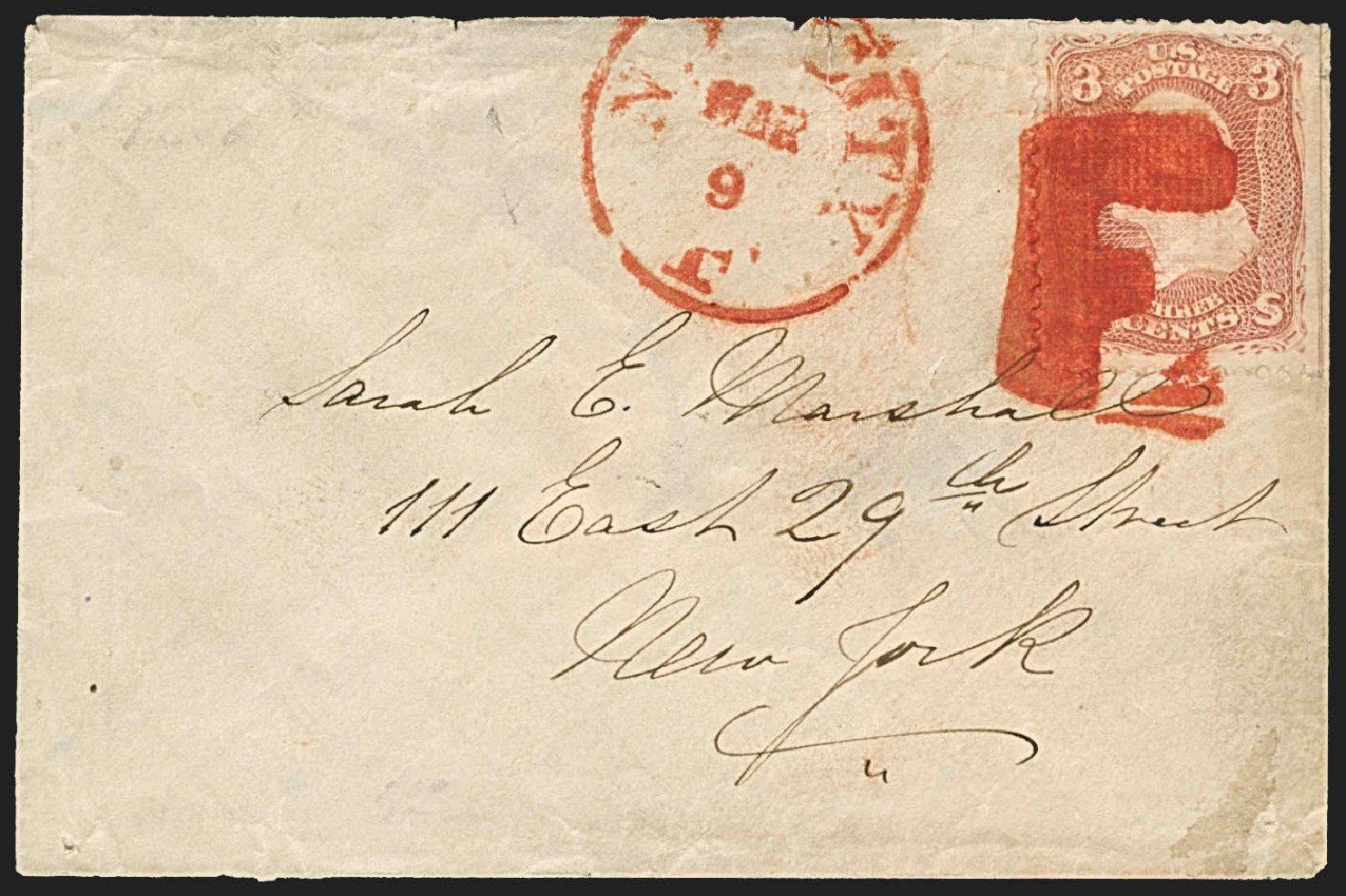 US Stamp Values Scott Catalogue # 88: 3c 1868 Washington Grill. Robert Siegel Auction Galleries, Jul 2015, Sale 1107, Lot 167