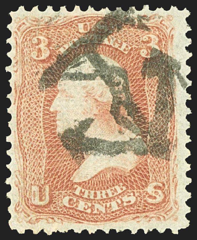 Value of US Stamp Scott Catalogue #88: 1868 3c Washington Grill. Robert Siegel Auction Galleries, Jul 2015, Sale 1107, Lot 161