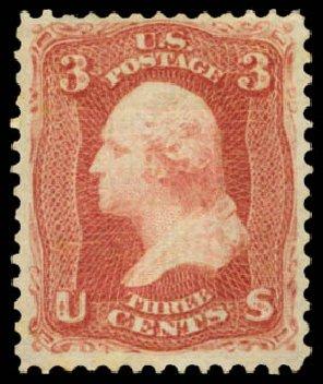 US Stamps Price Scott # 88 - 1868 3c Washington Grill. Daniel Kelleher Auctions, Jan 2015, Sale 663, Lot 1314