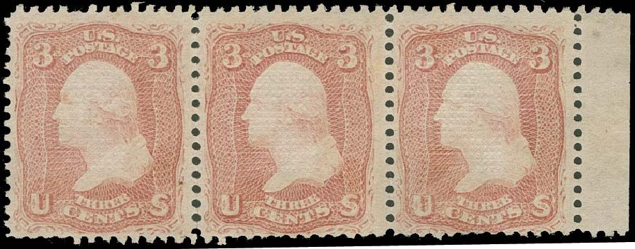 US Stamps Value Scott Catalogue #88: 3c 1868 Washington Grill. H.R. Harmer, Oct 2014, Sale 3006, Lot 1135