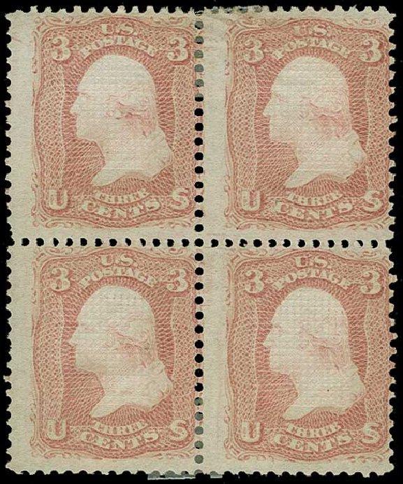 US Stamps Value Scott Catalog 88 - 3c 1868 Washington Grill. H.R. Harmer, Jun 2015, Sale 3007, Lot 3166