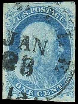 US Stamps Prices Scott Cat. 8A - 1851 1c Franklin. Regency-Superior, Aug 2015, Sale 112, Lot 61