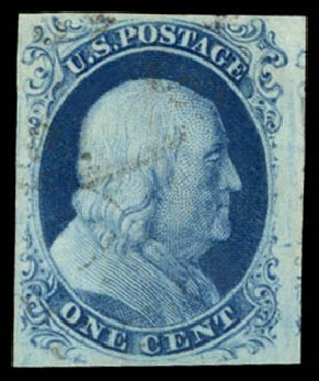 Value of US Stamps Scott Catalog #8A - 1851 1c Franklin. Daniel Kelleher Auctions, May 2014, Sale 653, Lot 2064