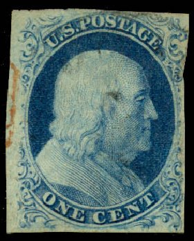 US Stamp Value Scott Catalog # 8A: 1851 1c Franklin. Daniel Kelleher Auctions, Aug 2015, Sale 672, Lot 2134