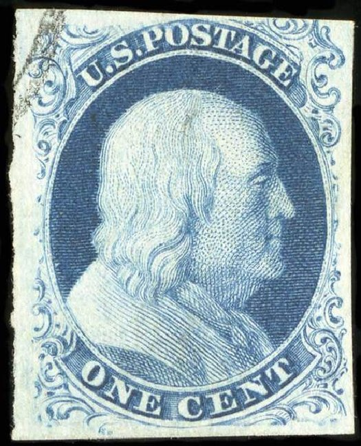 Values of US Stamp Scott Catalog 8A - 1c 1851 Franklin. Spink Shreves Galleries, Jul 2015, Sale 151, Lot 24