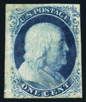 Costs of US Stamps Scott 8A: 1851 1c Franklin. Harmer-Schau Auction Galleries, Aug 2014, Sale 102, Lot 1632