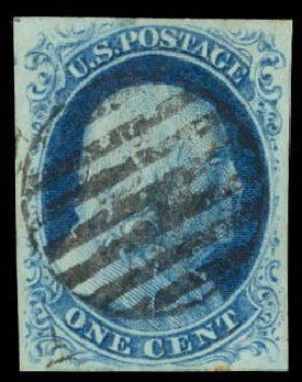 Value of US Stamp Scott Cat. 8A: 1c 1851 Franklin. Daniel Kelleher Auctions, Aug 2015, Sale 672, Lot 2132
