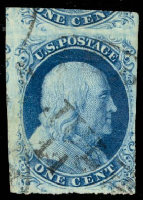 Values of US Stamps Scott Catalogue 8A: 1851 1c Franklin. Daniel Kelleher Auctions, Aug 2015, Sale 672, Lot 2133