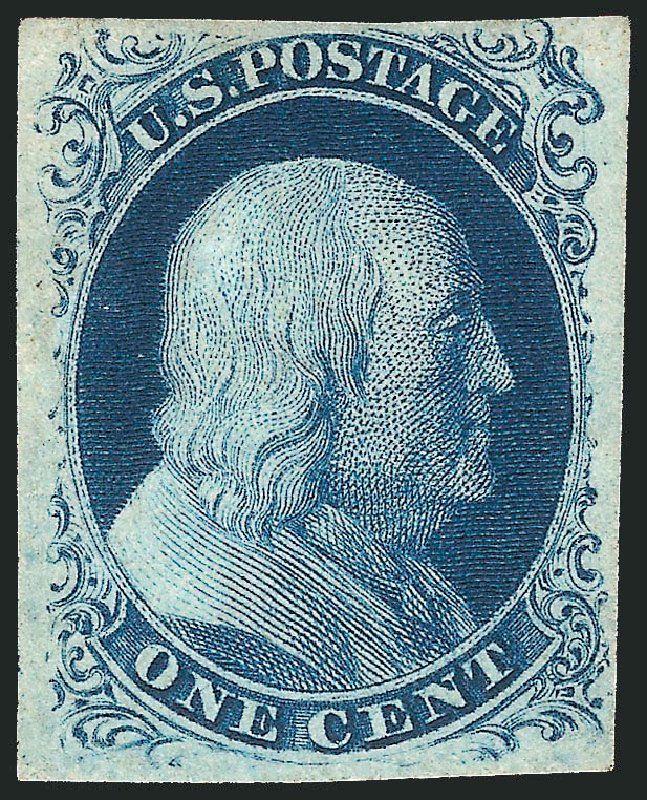 US Stamps Prices Scott Catalogue # 8A - 1c 1851 Franklin. Robert Siegel Auction Galleries, Apr 2015, Sale 1096, Lot 16