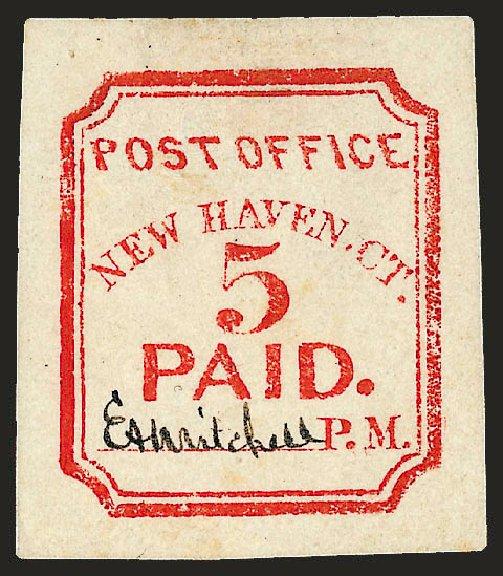 Costs of US Stamp Scott 8XU1: 5c 1845 New Haven Postmasters Provisional. Robert Siegel Auction Galleries, Dec 2008, Sale 964, Lot 17