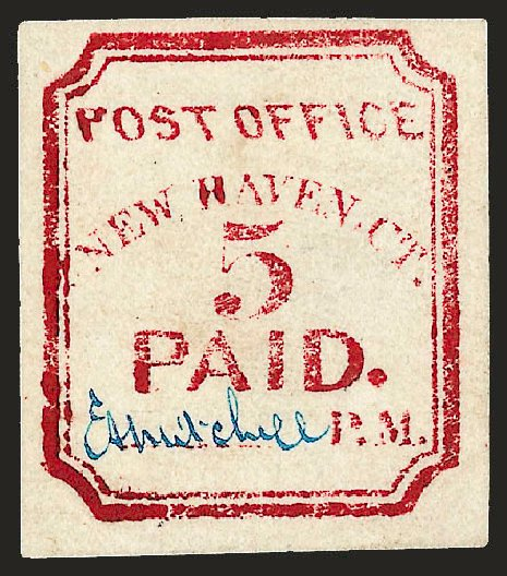 US Stamp Price Scott Catalogue 8XU1: 5c 1845 New Haven Postmasters Provisional. Robert Siegel Auction Galleries, Dec 2008, Sale 964, Lot 37