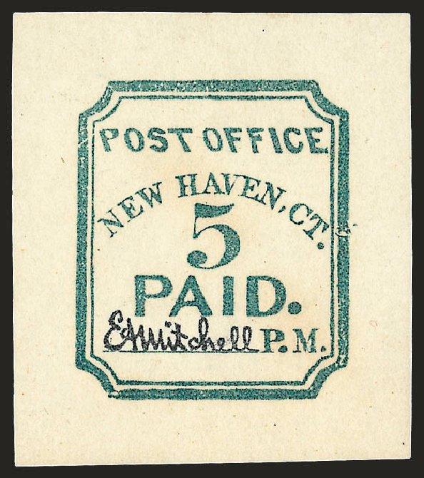 Costs of US Stamp Scott 8XU1: 5c 1845 New Haven Postmasters Provisional. Robert Siegel Auction Galleries, Dec 2008, Sale 964, Lot 47